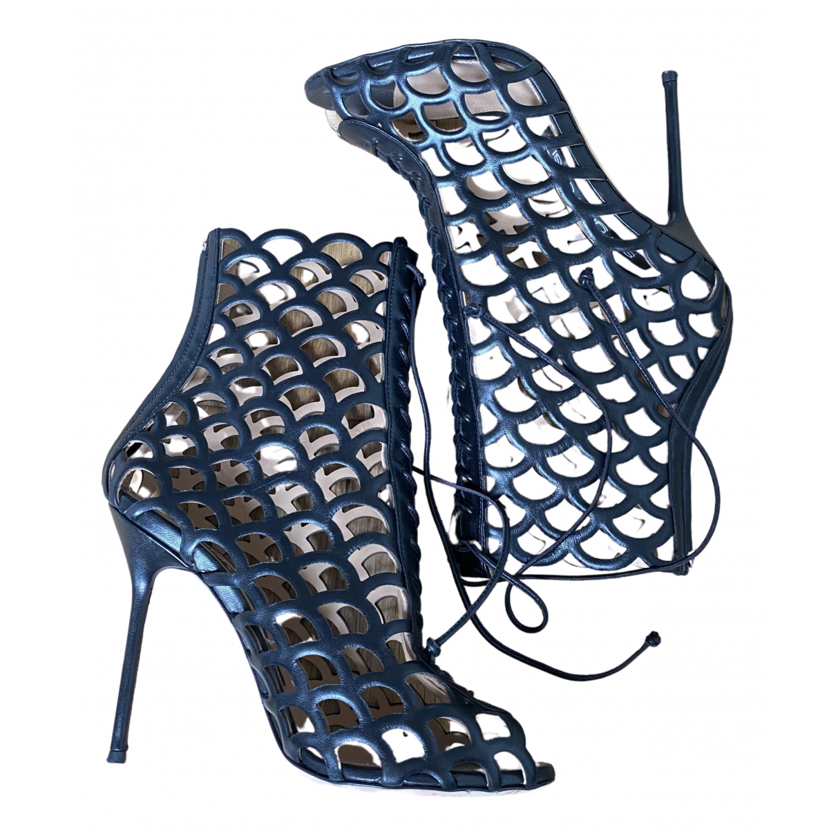 Sergio Rossi N Black Leather Heels for Women 37 EU