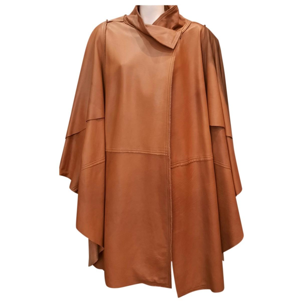 Fendi - Manteau   pour femme en cuir - camel