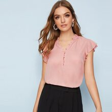 Solid Covered Button Butterfly Sleeve Blouse