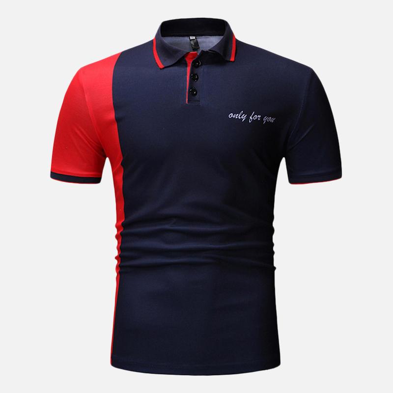Men Muscle Fit Color Block Short Sleeve Regular Golf Shirt