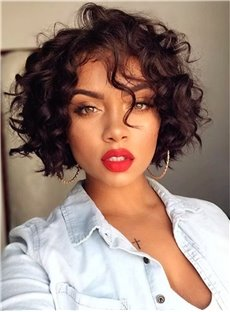 Bob Hairstyle Short Curly Synthetic Hair Capless African American Women Wigs