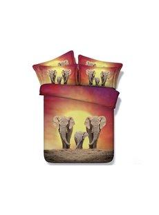 Elephant Family Printed Cotton 4-Piece 3D Bedding Sets/Duvet Covers