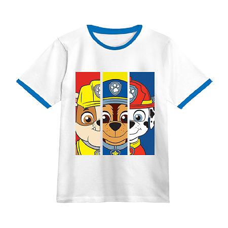 Little Boys Crew Neck Paw Patrol Short Sleeve Graphic T-Shirt, X-small (6-7) , White