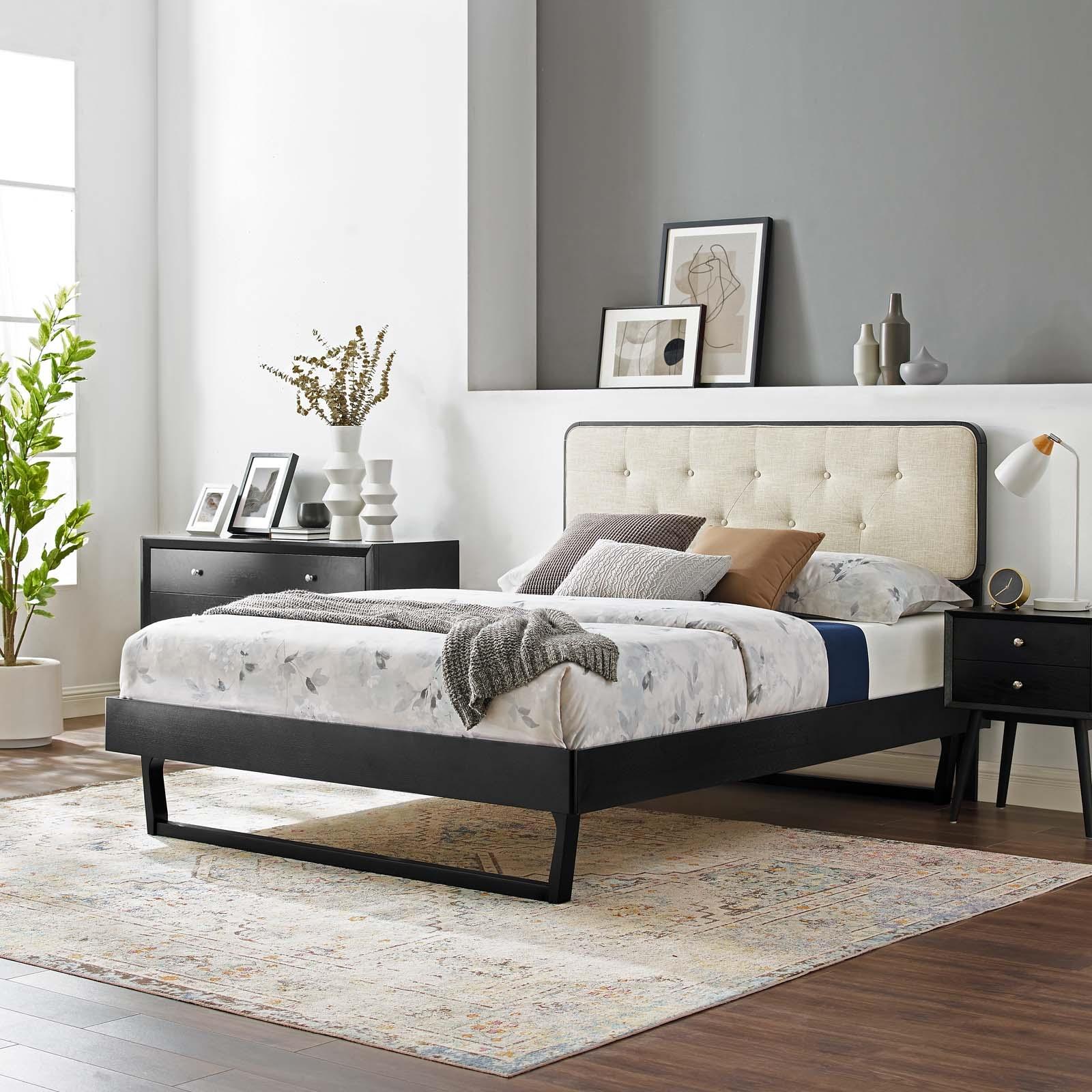 Bridgette Full Wood Platform Bed With Angular Frame in Black Beige