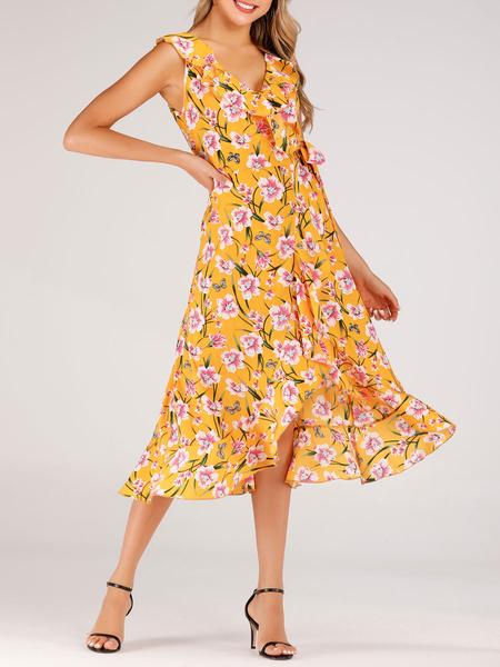 Milanoo Boho Dress V Neck Sleeveless Printed Irregular Summer Dresses
