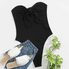Knot Front Ribbed Tube Bodysuit