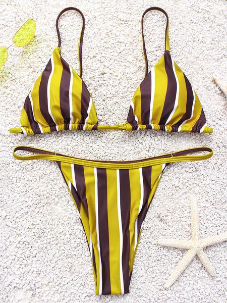 Yoins Yellow & Brown Stripe Spaghetti V-neck Sleeveless Bikini