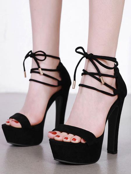 Milanoo Sandalias negras Plataforma de tacon alto Zapatos con punta abierta con cordones para mujer