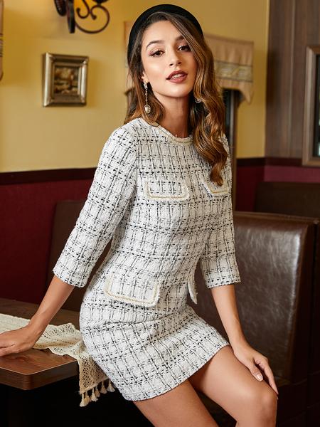 YOINS White Pocket Design Round Neck 3/4 Length Sleeves Dress