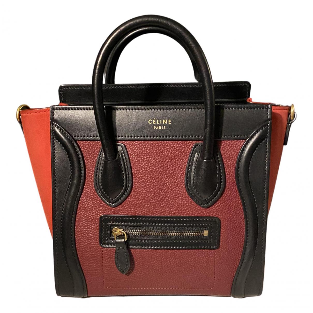 Celine Luggage Handtasche in  Bordeauxrot Leder