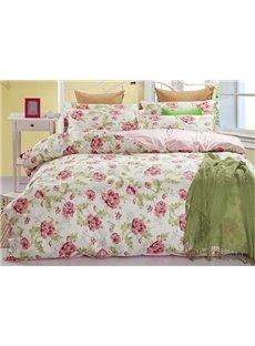 Fresh Floral Calystegia Hederacea Print Cotton 4-Piece Bedding Sets/Duvet Cover
