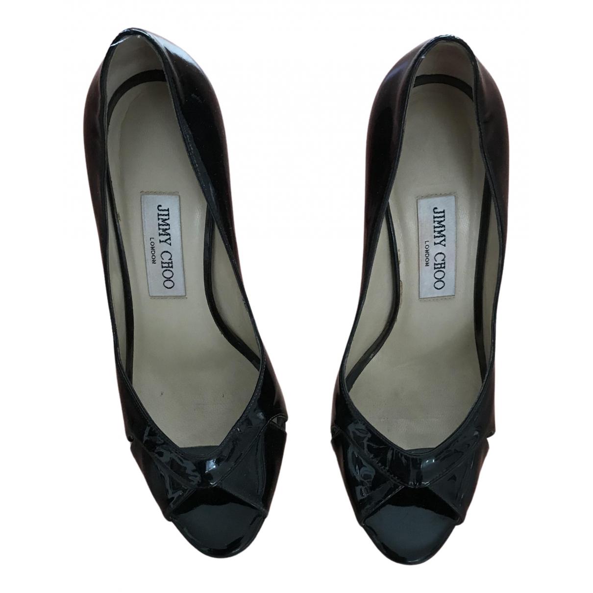 Jimmy Choo N Black Patent leather Heels for Women 38 EU