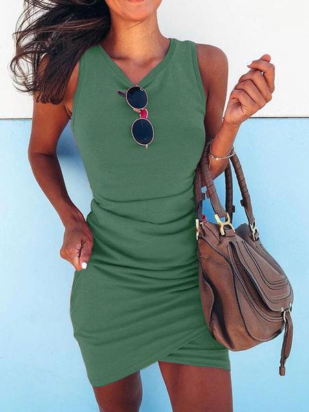 Milanoo Bodycon Dresses Rose V-Neck Polyester Summer Sexy Sleeveless Pencil Dress