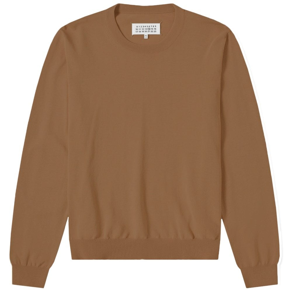 Maison Margiela Elbow Patch Pullover Jumper Colour: BROWN, Size: EXTRA LARGE
