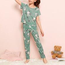 Conjunto de pijama de niñas camiseta con estampado de conejo y lunares con pantalones