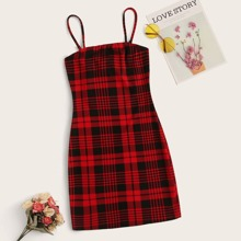 Cami Mini figurbetontes Kleid mit Karo Muster