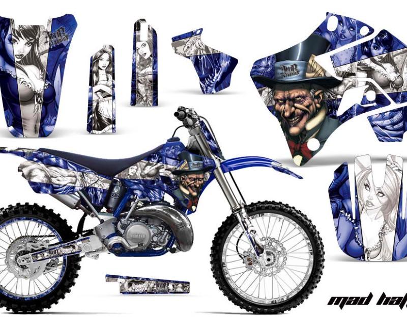 AMR Racing Graphics MX-NP-YAM-YZ125-YZ250-96-01-HAT U W Kit Decal Sticker Wrap + # Plates For Yamaha YZ125 YZ250 1996-2001áHATTER BLUE WHITE
