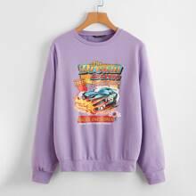 Sweatshirt mit Buchstaben und Auto Muster