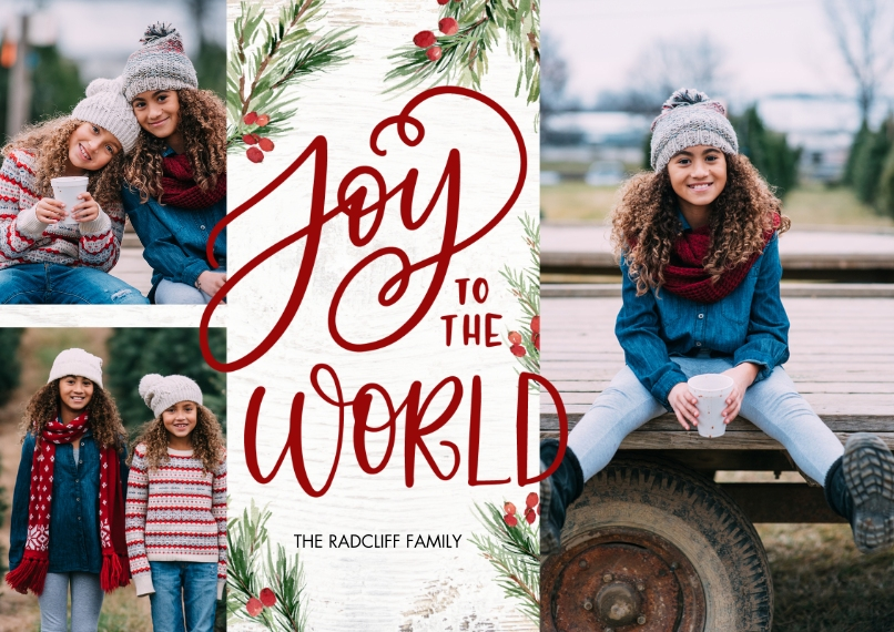 Christmas Photo Cards 5x7 Cards, Premium Cardstock 120lb with Rounded Corners, Card & Stationery -Christmas Joy World Berries by Tumbalina