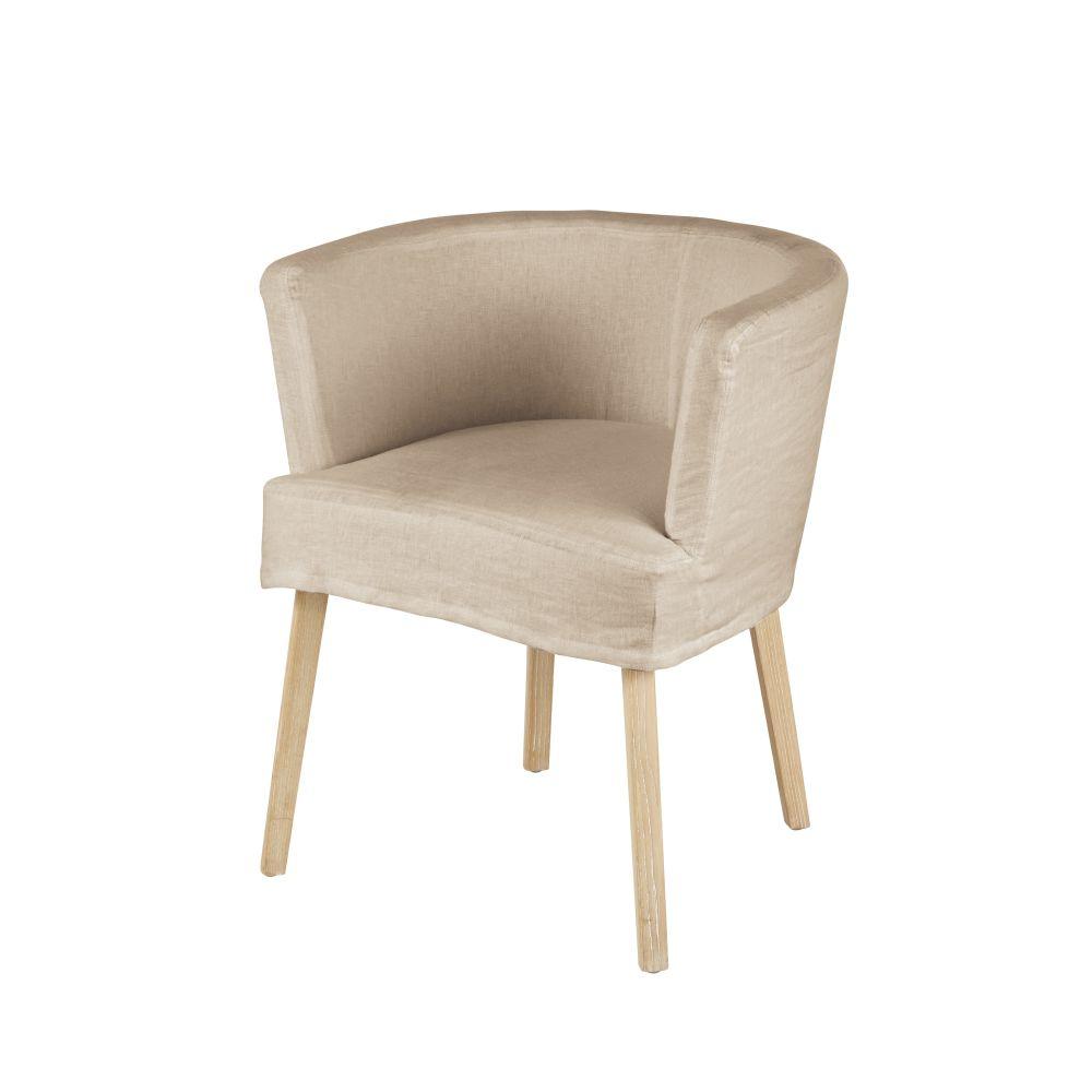 Sessel mit Bezug aus Leinen und Baumwolle, beige Carnac