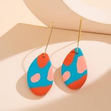 1pair Colorblock Oval Drop Earrings