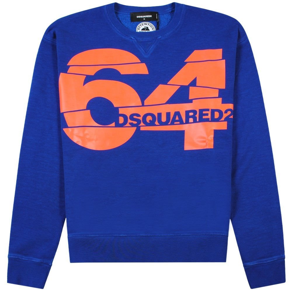 Dsquared2 64 Graphic Print Sweatshirt Colour: BLUE, Size: LARGE