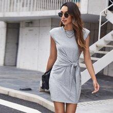 Shoulder Pad Knot Front Dress