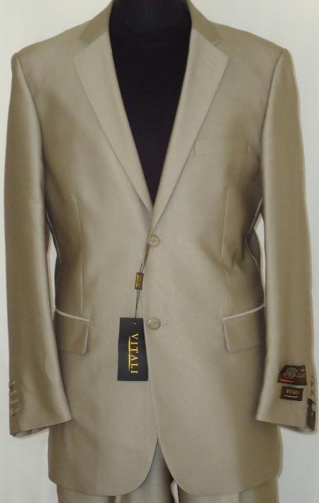 Mens Designer 2Button Shiny Beige Sharkskin Suit