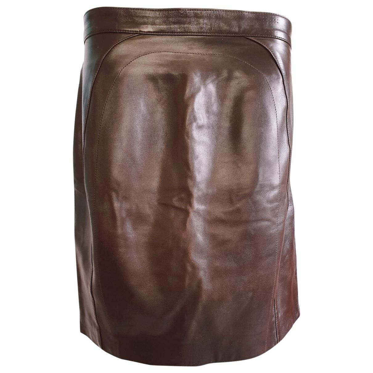 Jitrois - Jupe   pour femme en cuir - marron