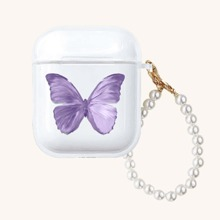 Butterfly Print AirPods Case With Pearl Lanyard
