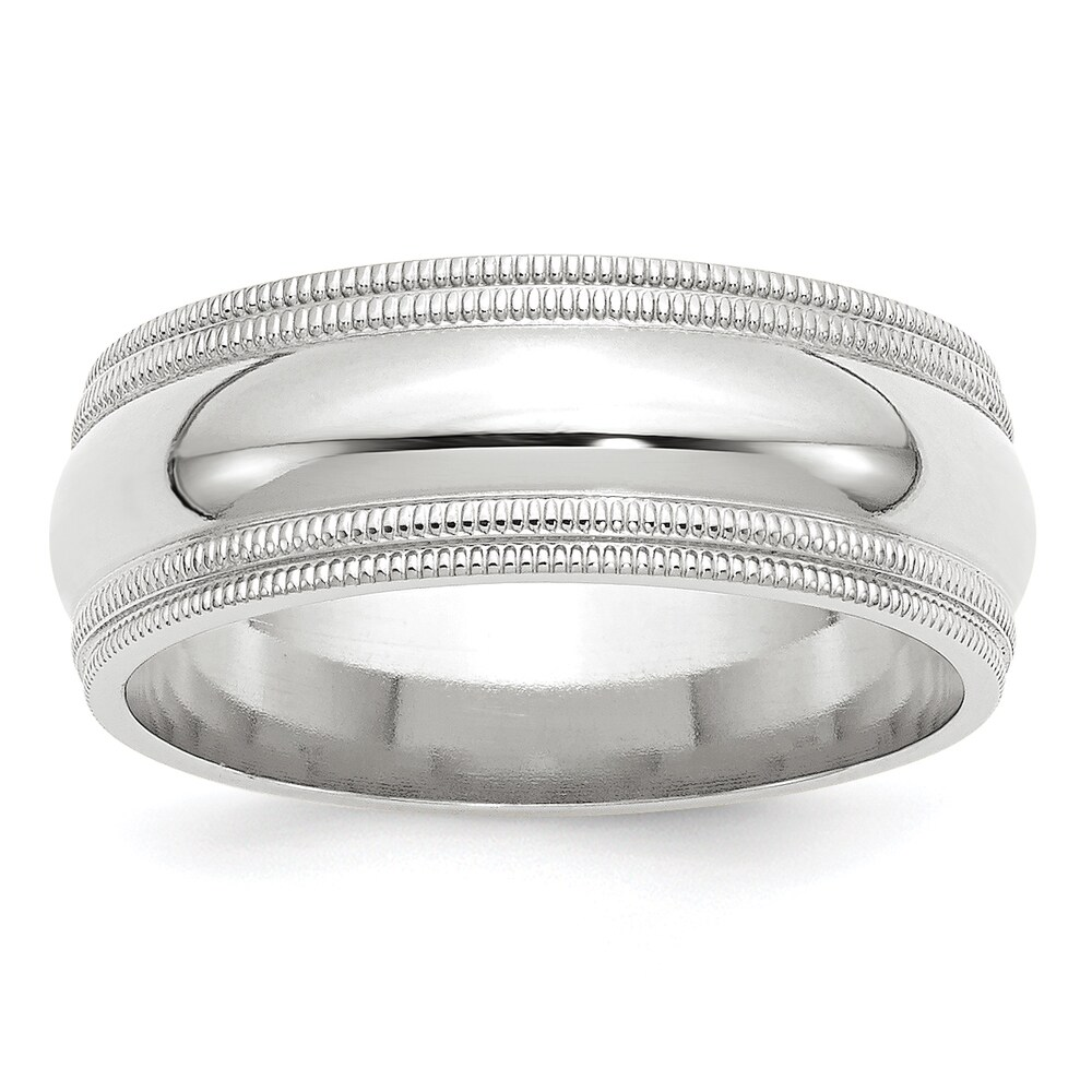 14K White Gold 8mm Double Milgrain Comfort Fit Band by Versil (7.5)