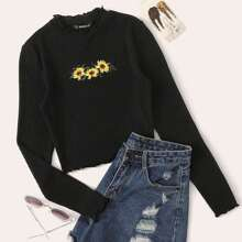 Lettuce Trim Embroidered Rib-knit Tee
