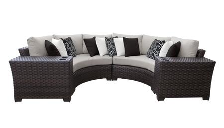 RIVER-04a Kathy Ireland Homes and Gardens River Brook 4-Piece Wicker Patio Set 04a - 1 Set of Truffle