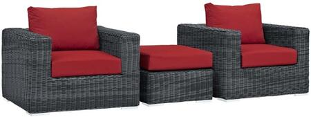 Summon Collection EEI-1905-GRY-RED-SET 3 Piece Outdoor Patio Sunbrella Sectional Set with 2 Armchairs and Ottoman in Canvas Red
