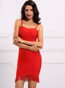 Adyce Fringe Hem Cami Bandage Dress