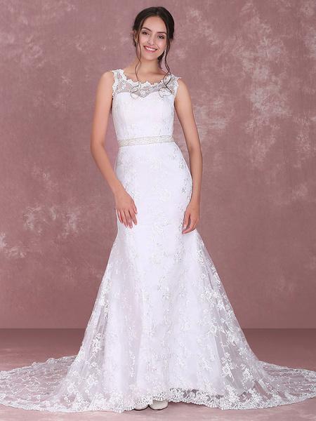 Milanoo Chic White Satin Jewel Neck Lace A-line Bridal Wedding Dress