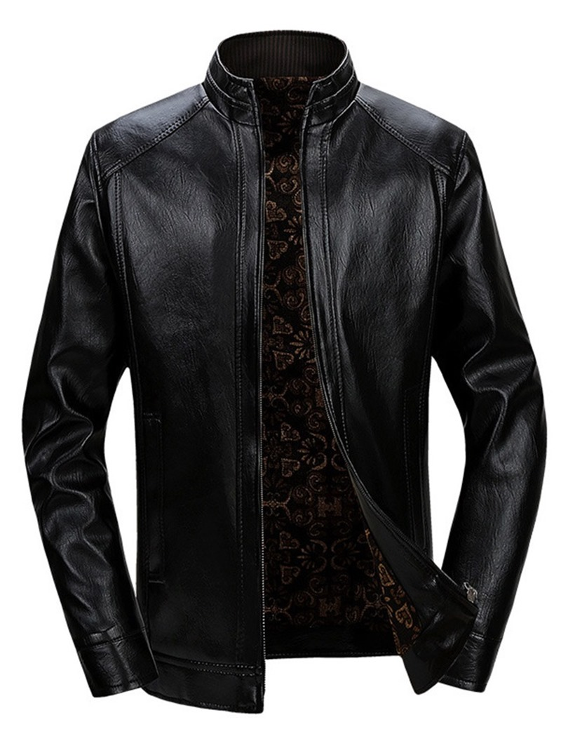 Ericdress Zipper Stand Collar Plain Men's Slim Jacket