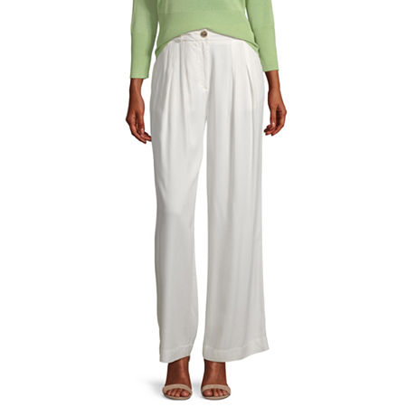 Worthington Womens Pleated Wide Leg Trouser - Tall, Xx-large Tall , White