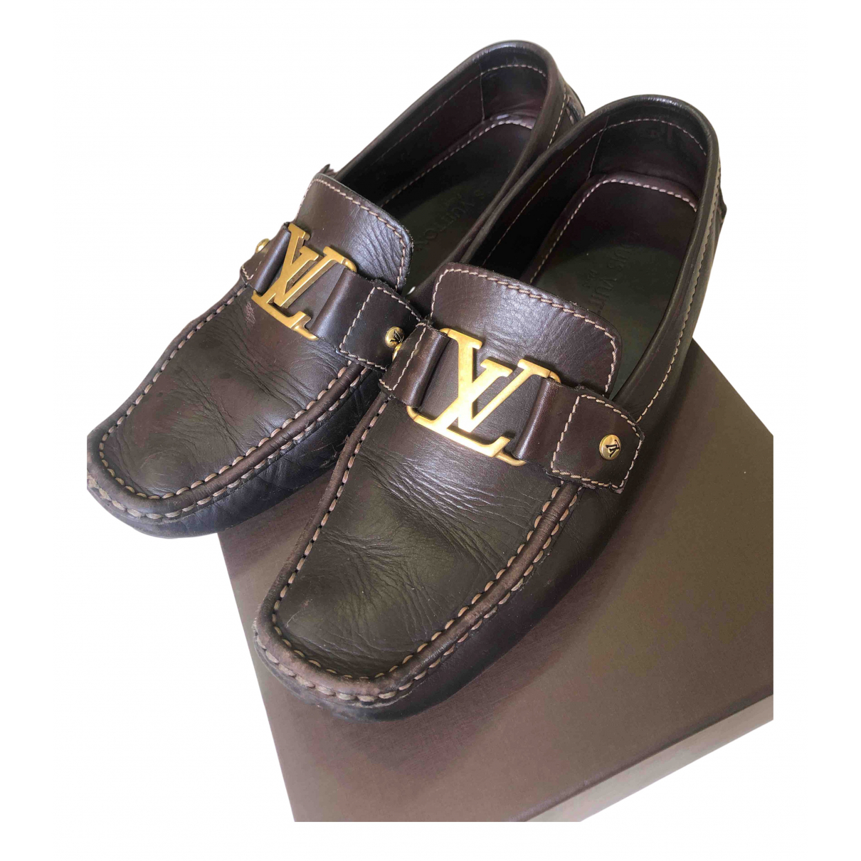 Louis Vuitton N Brown Leather Flats for Men 8.5 UK