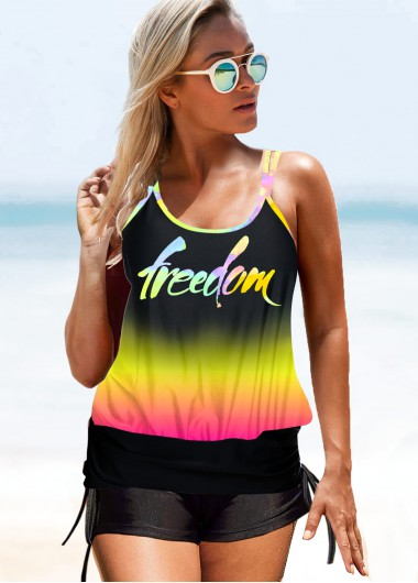 Letter Print Double Strap Gradient Swimwear Top - XL
