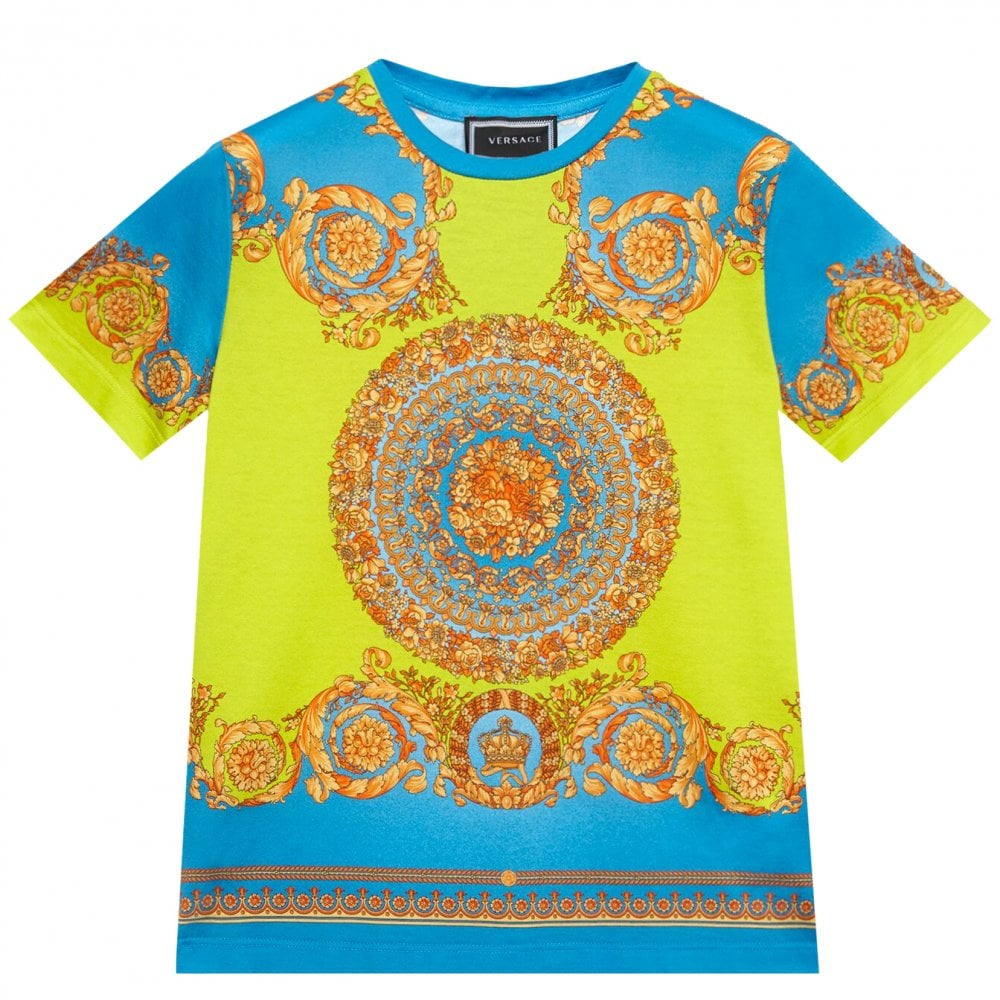 Versace Young Versace Fluo Barocco Tshirt Colour: BLUE, Size: 8 YEARS