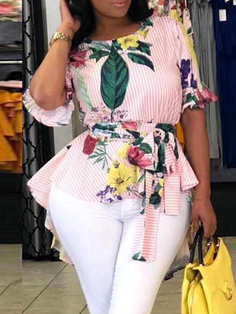 Ericdress African Fashion Flare Sleeve Asymmetric Blouse