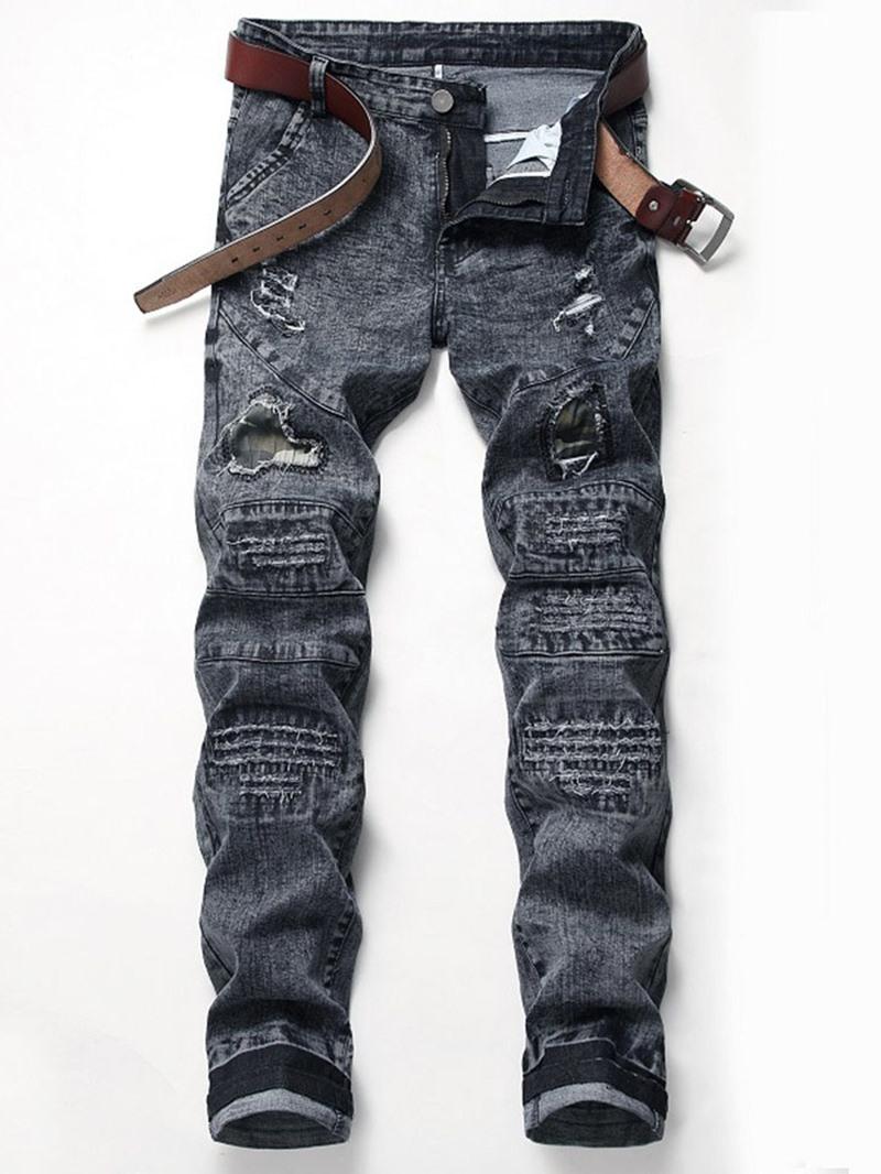 Ericdress Straight Worn Zipper Mid Waist Jeans