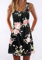 Rose Floral Ruffled Mini Dress - Black