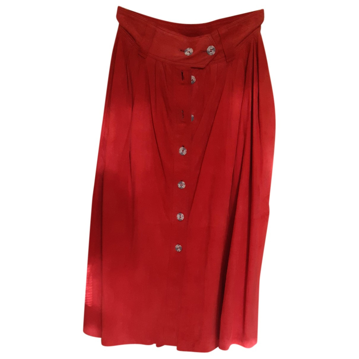 Non Signé / Unsigned N Red Suede skirt for Women 42 IT