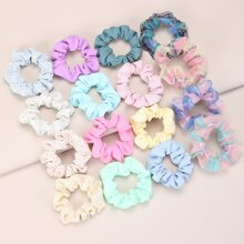 16pcs Toddler Girls Plaid Pattern Scrunchie