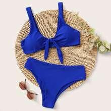 Einfarbiger Bikini Set mit Knoten vorn