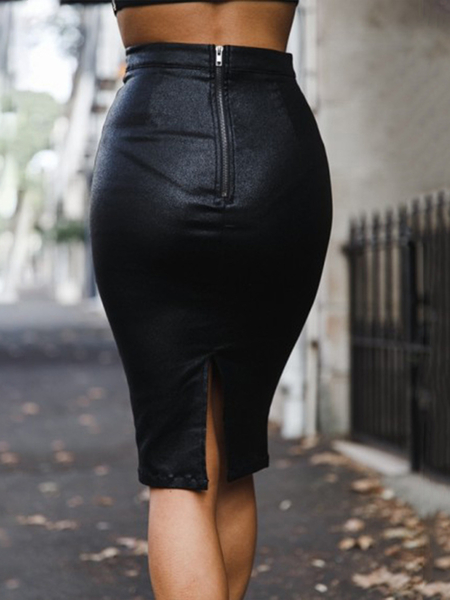 Yoins Zip Front Faux Leather High-Waisted Skirt