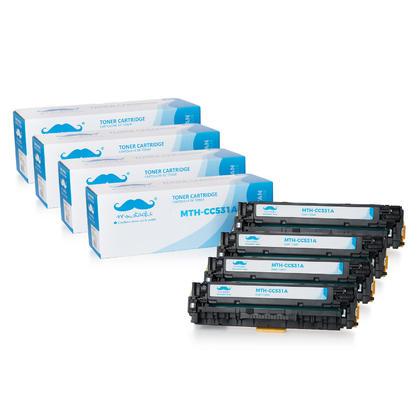 Compatible HP 304A CC531A cartouche de toner cyan - Moustache@ - 4/paquet