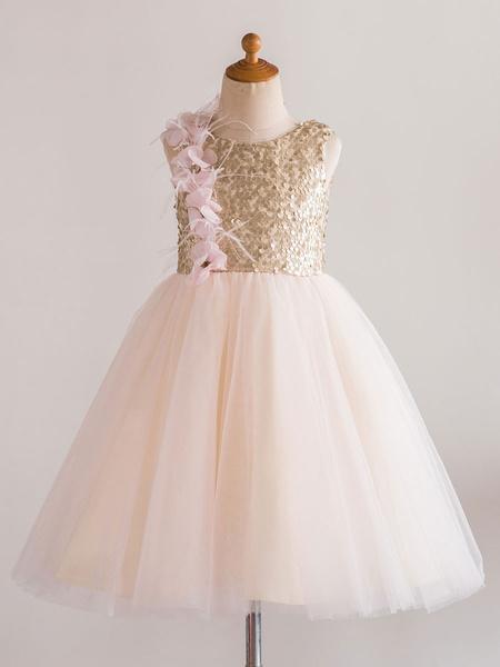 Milanoo Flower Girl Dresses Jewel Neck Tulle Sleeveless Knee Length Princess Silhouette Flowers Kids Social Party Dresses